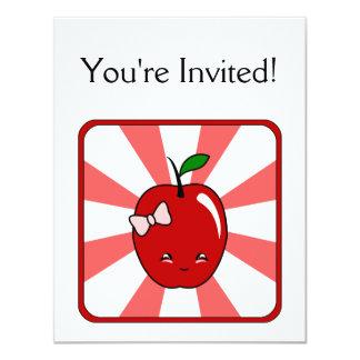 """Kawaii Apple (chica) Invitación 4.25"""" X 5.5"""""""