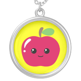 Kawaii Apple Round Pendant Necklace