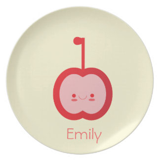 Kawaii Apple - placa personalizada de los niños Plato De Comida