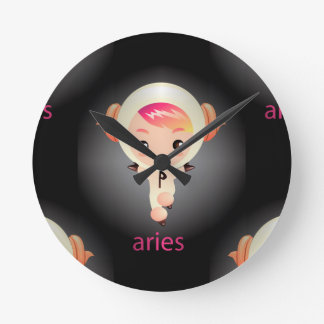 kawaii aries round clock
