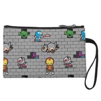 Kawaii Avengers Brick Wall Pattern Wristlet Wallet