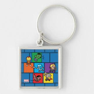 Kawaii Avengers In Colorful Blocks Keychain