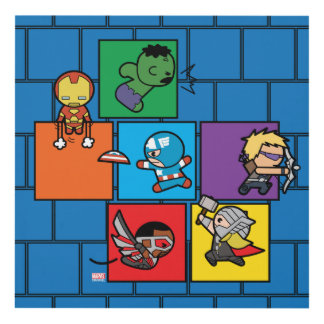 Kawaii Avengers In Colorful Blocks Panel Wall Art