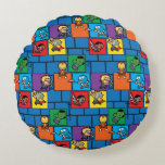 Kawaii Avengers In Colorful Blocks Round Pillow