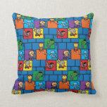 Kawaii Avengers In Colorful Blocks Throw Pillow