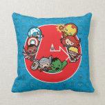 Kawaii Avengers Inside A-Logo Throw Pillow