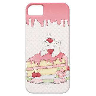 Kawaii azotó la torta poner crema del gatito y de iPhone 5 Case-Mate carcasa
