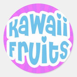 Kawaii azul da fruto texto en Starburst púrpura Etiquetas