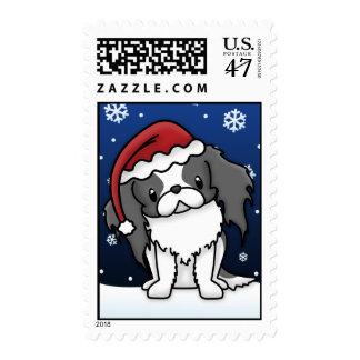 Kawaii B&W Japanese Chin Christmas Stamps
