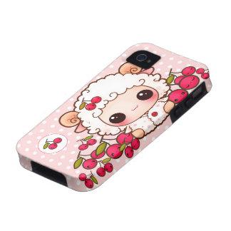 Kawaii baby sheep and cute cherries vibe iPhone 4 case