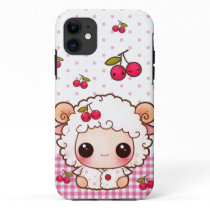 Kawaii baby sheep and cute cherries iPhone 11 case