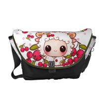 Kawaii baby sheep and cute cherries courier bag