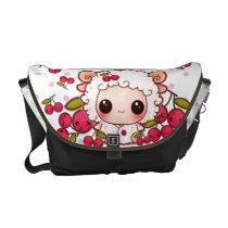 Kawaii baby sheep and cute cherries messenger bag