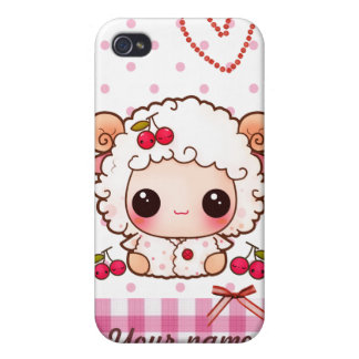 Kawaii baby sheep and cute cherries - Personalized iPhone 4/4S Case