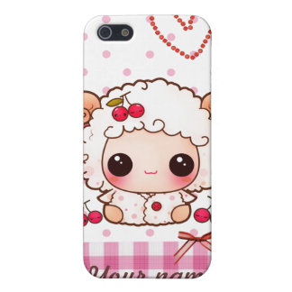 Kawaii baby sheep and cute cherries - Personalized iPhone 5 Case
