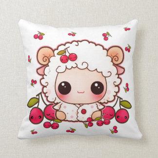 Kawaii baby sheep and cute cherries pillow