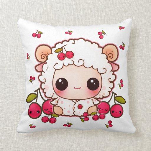 Cute Pillows And Blankets : Kawaii baby sheep and cute cherries throw pillows Zazzle