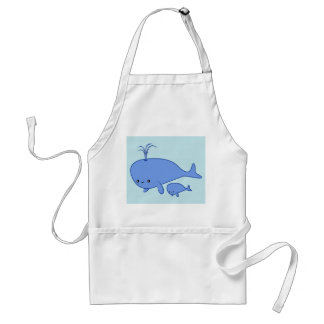 Kawaii Baby Whale and Mama Whale Adult Apron