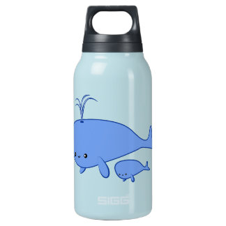 Kawaii Baby Whale and Mama Whale Insulated Water Bottle