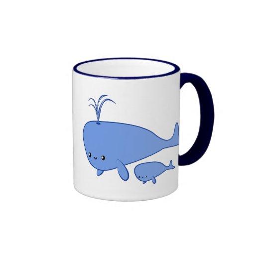 Kawaii Baby Whale and Mama Whale mug