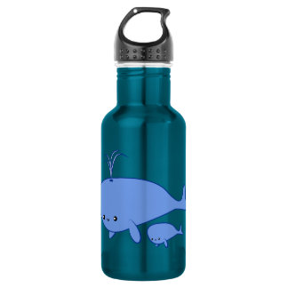 Kawaii Baby Whale and Mama Whale 18oz Water Bottle