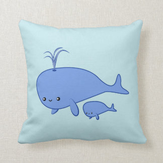 Kawaii Baby Whale and Mama Whale Pillows