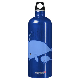 Kawaii Baby Whale and Mama Whale SIGG Traveler 1.0L Water Bottle
