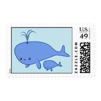 Kawaii Baby Whale and Mama Whale stamps