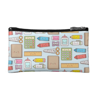 Kawaii Back to School Supplies Pattern For Girls Cosmetic Bag