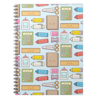 Kawaii Back to School Supplies Pattern For Girls Notebook