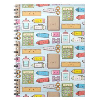 Kawaii Back to School Supplies Pattern For Girls Notebook