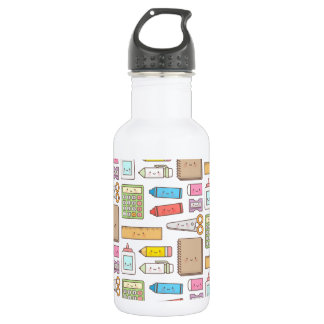 Kawaii Back to School Supplies Pattern For Girls Stainless Steel Water Bottle