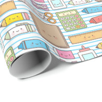 Kawaii Back to School Supplies Pattern For Girls Wrapping Paper