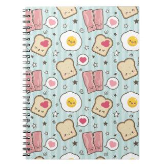 Kawaii Bacon & Fried Egg Deconstructed Sandwich Spiral Notebook