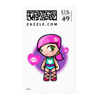 kawaii ballerina postage stamps