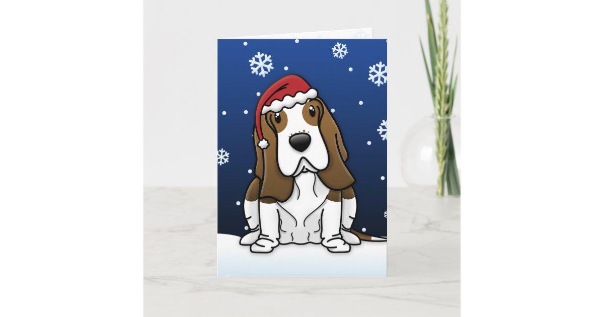 Kawaii Basset Hound Christmas Card | Zazzle.com