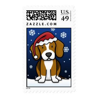 Kawaii Beagle Christmas Postage Stamps
