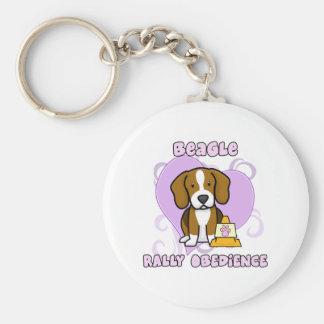 Kawaii Beagle Rally Obedience Basic Round Button Keychain