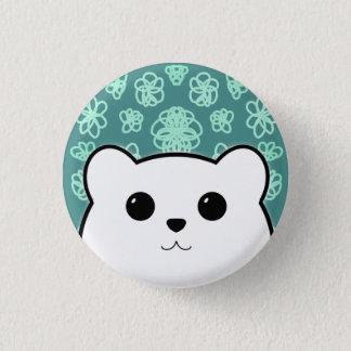 Kawaii Bear and Flowers (Polar Bear) Button