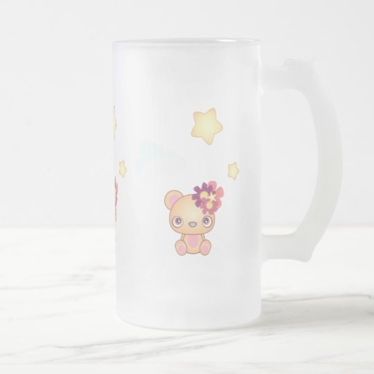 Kawaii Bear Frosted Glass Beer Mug