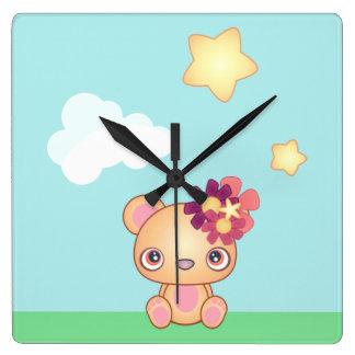 Kawaii Bear Square Wall Clock