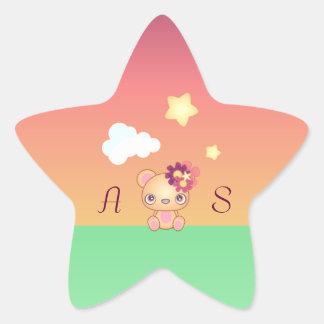 Kawaii Bear Star Sticker