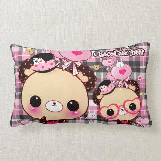 Kawaii bear with heart glasses and balloons lumbar pillow