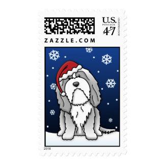 Kawaii Bearded Collie Christmas Stamps