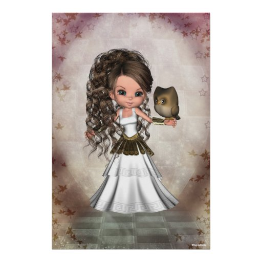 Kawaii Beautiful Athena Greek Goddess Print