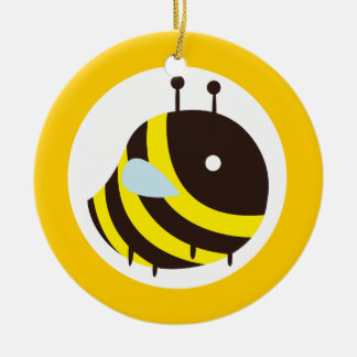 KAWAII BEE VERY CUTE FLYING BEE Double-Sided CERAMIC ROUND CHRISTMAS ORNAMENT