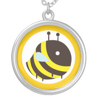 KAWAII BEE VERY CUTE FLYING BEE ROUND PENDANT NECKLACE