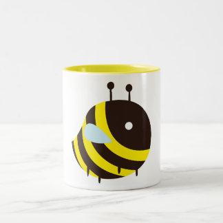KAWAII BEE VERY CUTE FLYING BEE Two-Tone COFFEE MUG