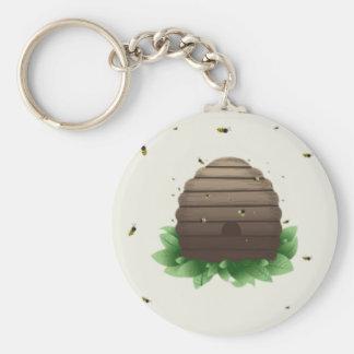 kawaii beehive and beeswarm basic round button keychain