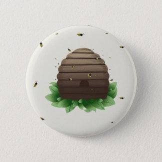 kawaii beehive and beeswarm button